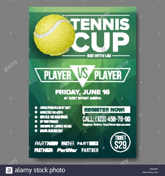 Tennis Poster Vector  Tennis Ball  Sports Event  Vertical Design