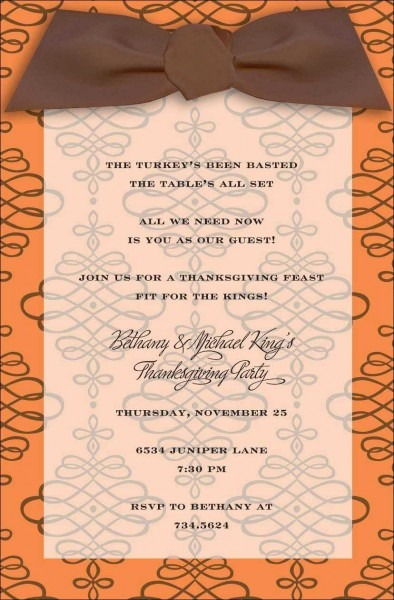 Thanksgiving Service Invitation Vellum Orange Mocha Thanksgiving