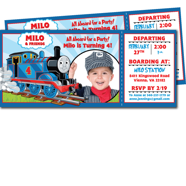 Thomas The Train Birthday Invitations – Blackline