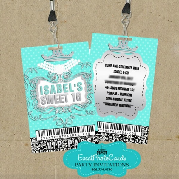 Teal Eiffel Sweet 16 Pass, Sweet 16 Teen Quinceanera Vip Pass