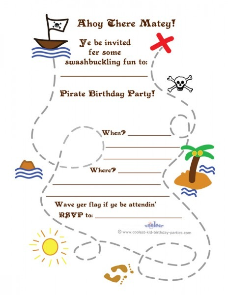 Printable Treasure Map Invitation