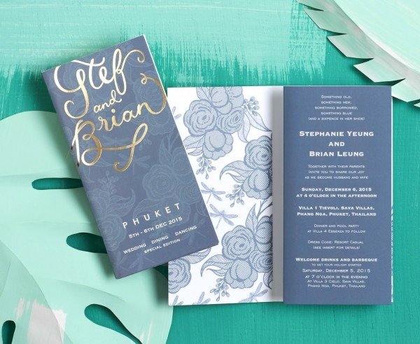 Tropical Turquoise And Gold Foil Wedding Invitations