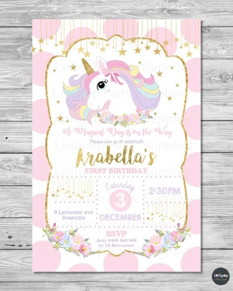 Digital File Unicorn Invitation 1st First Birthday Card Pink Gold