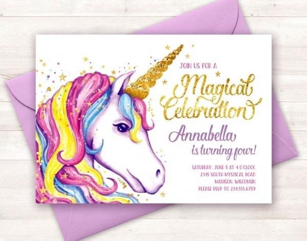 Unique Of Unicorn Birthday Party Invitations Invitation Etsy