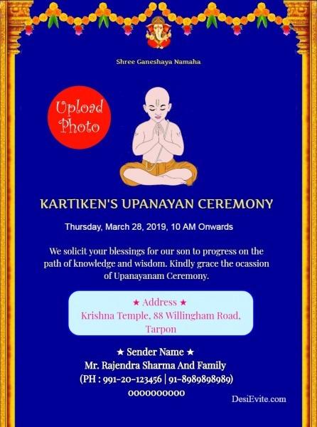 Free Janeu Upnayan Sanskar Invitation Card & Online Invitations