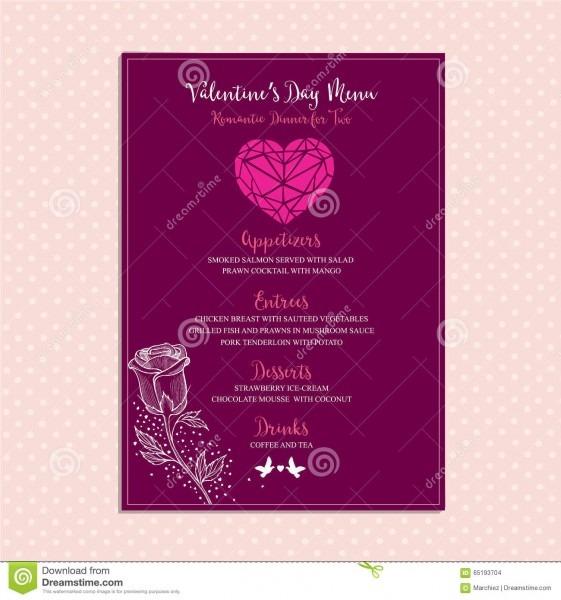 Valentine Party Invitation Restaurant  Food Flyer  Stock Vector