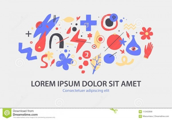 Vector Background Template With Funky Hand Drawn Elements  Can Be