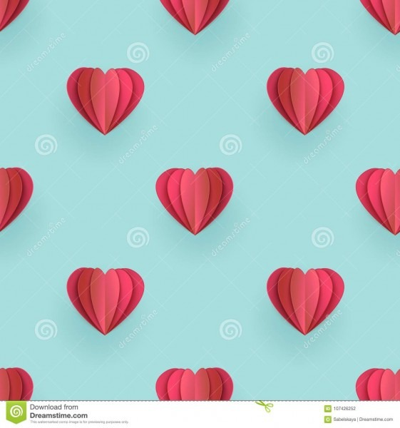 Vector Valentines Origami Heart Seamless Pattern Stock Vector