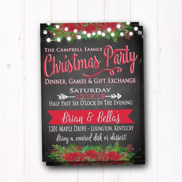Vibrant Christmas Dinner And Games Party Invite