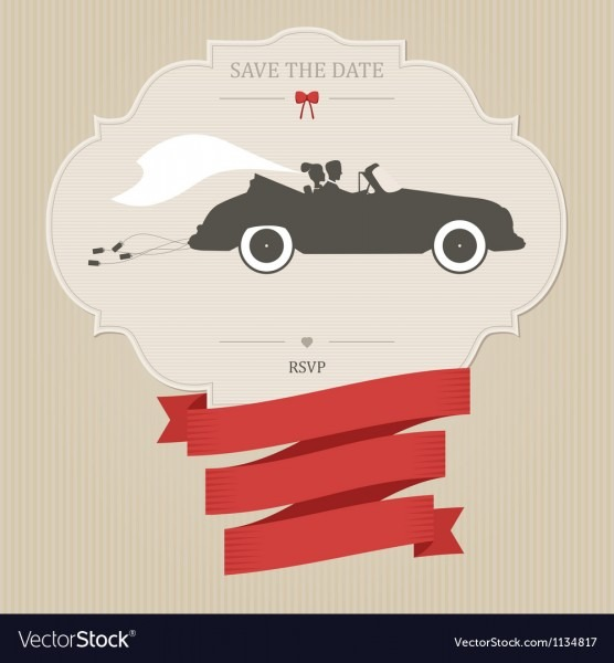 Vintage Wedding Invitation With Retro Car Dragging