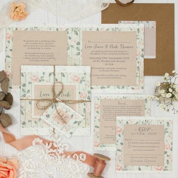 Apricot Sunrise Wedding Invitation Sample