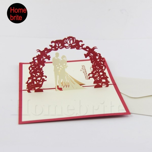 Wedding Invitation 3d Pop Up Lovers Paper Card With Envelope