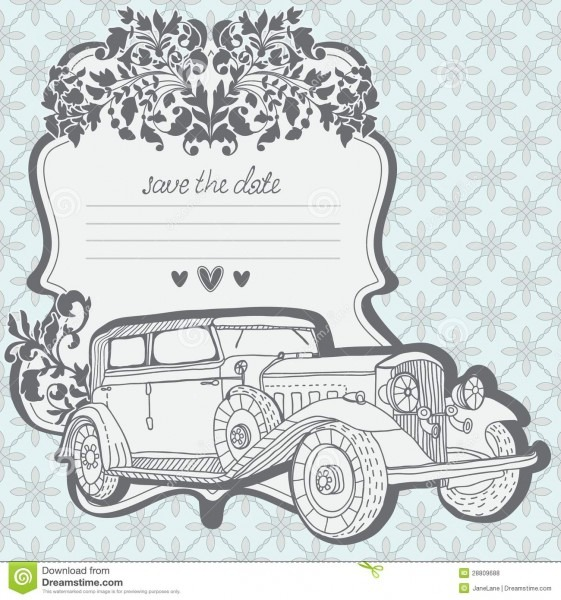 Wedding Invitation Card With Retro Car Stock Vector