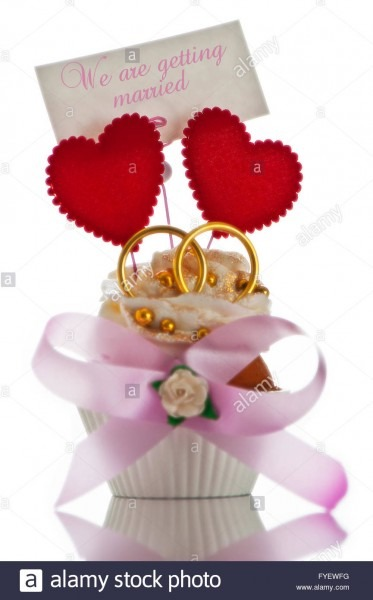 Wedding Invitation Card With Cupcake Two Heart And Two Ring On