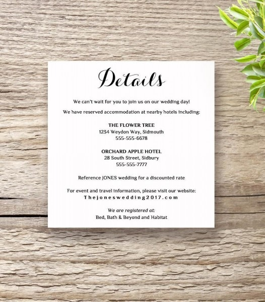 Wedding Invitation Details Printable Rsvp Information Templates