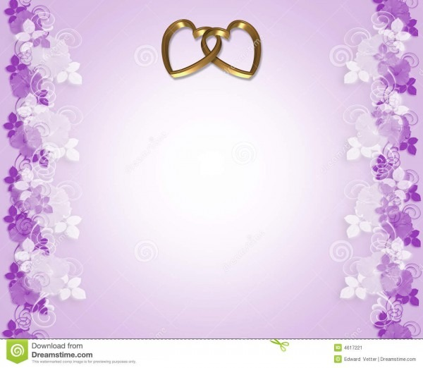 Wedding Invitation Lavender Gold Hearts Stock Illustration