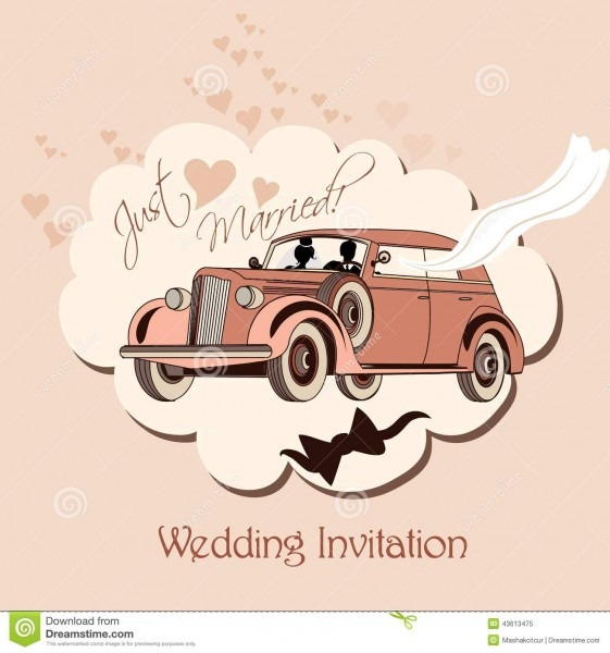 Wedding Invitation With Retro Car, Bride And Groom Just Married
