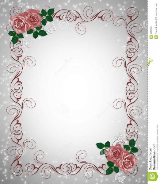 Wedding Invitation Template Red Roses Stock Illustration