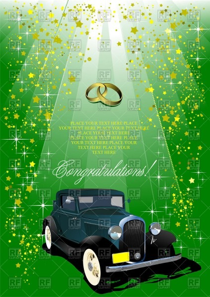 Wedding Invitation With Rarity Car On Green Background With Golden
