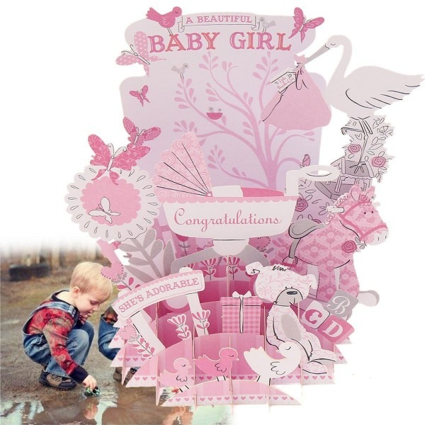 Wholesale Pink Baby 3d Pop Up Greeting Card Postcard Baby Shower