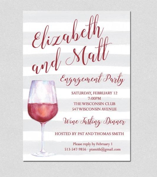Wine Tasting Dinner Engagement Party Invite