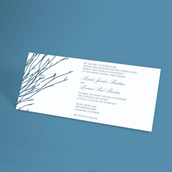 Winter Wedding Invitation Suite With Bare Forest Branches, Rustic