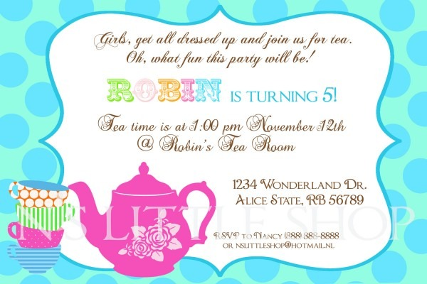 Wording For Tea Party Invitations