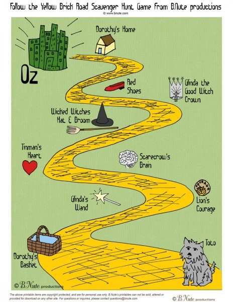 Bnute Productions  Free Printable Wizard Of Oz Scavenger Hunt Game