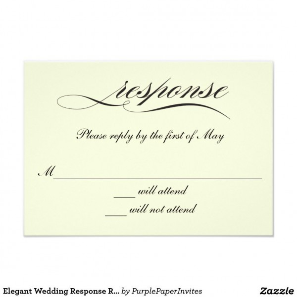 Elegant Wedding Response Rsvp Cards Invitation