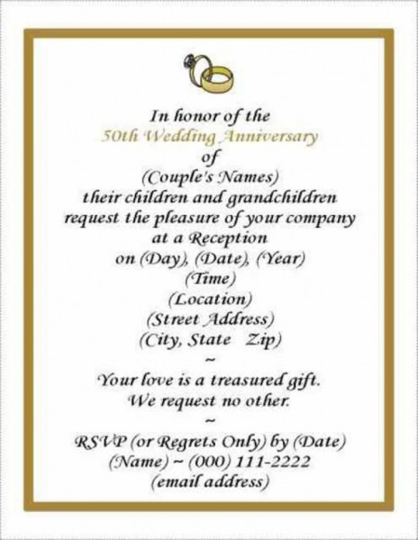 007 Template Ideas 50th Wedding Anniversary Invitations Templates