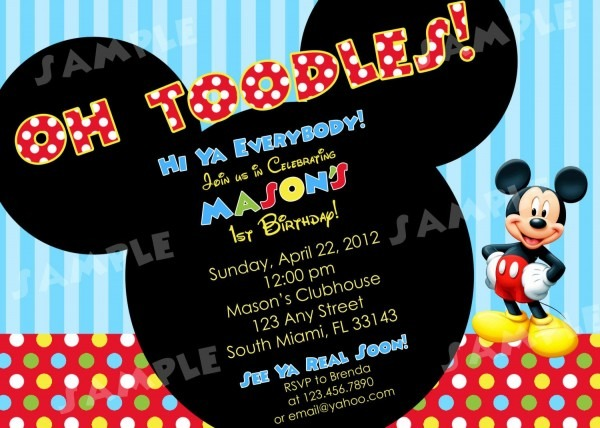 002 Template Ideas Mickey Mouse Birthday Unforgettable Invitation