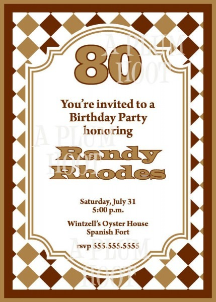 011 Template Ideas 80th Birthday Invitation Templates Shocking