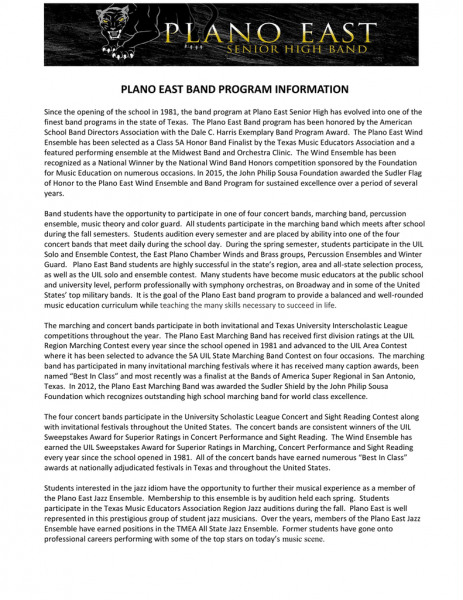Plano East Band Program Information