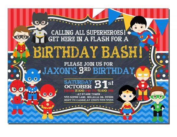 016 Best Superhero Birthday Invitations With Additionalplates