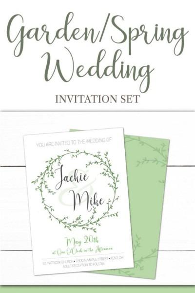Laurel Wreath Wedding Invitation Thank You Card Rsvp Card