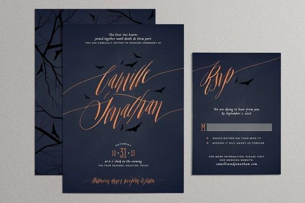 Printable Halloween Wedding Invitation Set Halloween Wedding