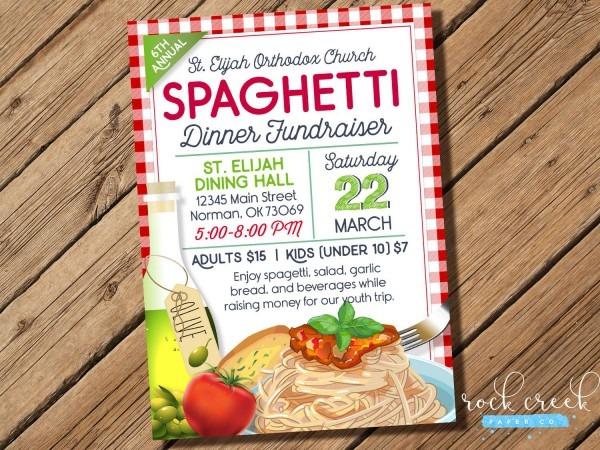 Spaghetti Dinner Invitation, Spaghetti Fundraiser, Spaghetti