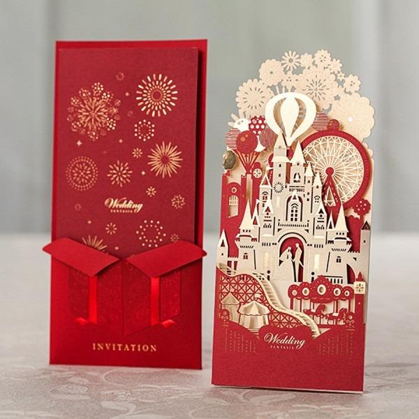 100pcs Red Paper Greeting Card 3d Pop Up Cards European Laser