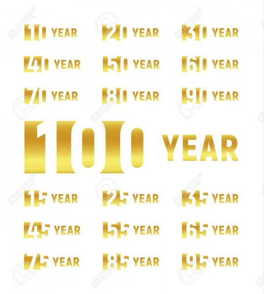 Anniversary Of Company, Gold Negative Space Sign, Business