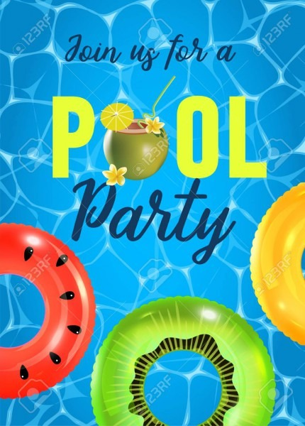 Pool Party Invitation Vector Illustration  Top View Of Swimming