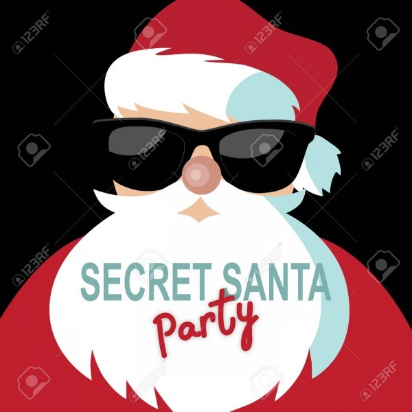 Cartoon Secret Santa Invitation Template With Santa Claus On
