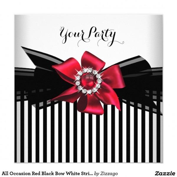 All Occasion Red Black Bow White Stripe Party 2 Invitation