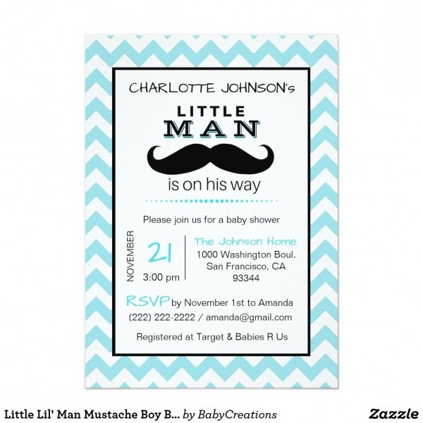 Little Lil' Man Mustache Boy Blue Baby Shower Invitation