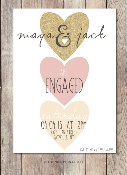 Engagement Party Invitation We're Engaged By Trendyprintables