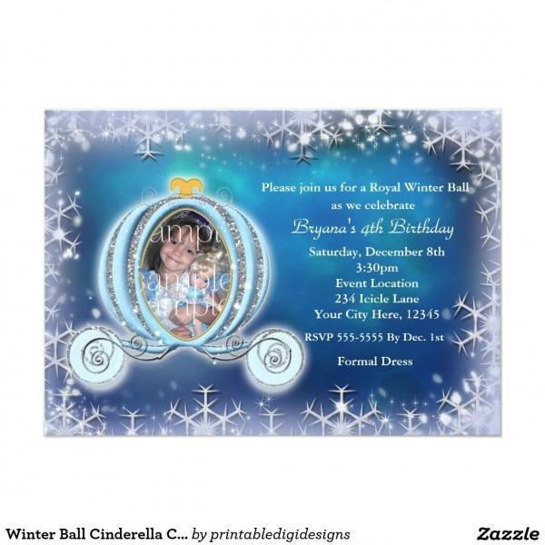 Winter Ball Cinderella Carriage Photo Invitation