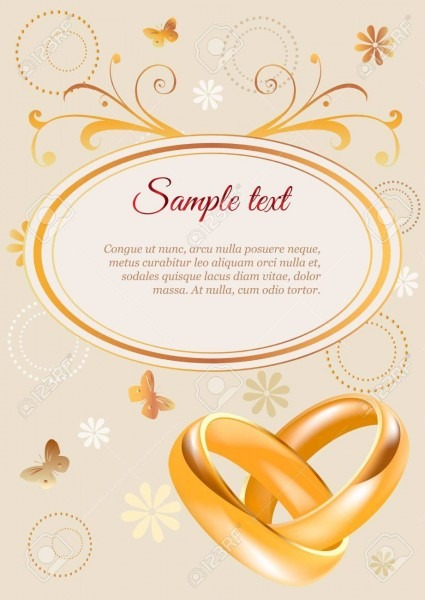 Wedding Invitation Width 3d Golden Rings And Flowers Royalty Free