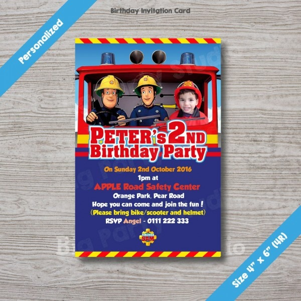 Fireman Sam Personalized Birthday Invitation Card, Fireman Sam