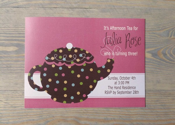 Polka Dot Teapot Birthday Party Invitation