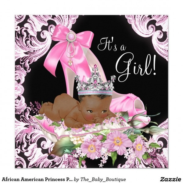 African American Princess Pink Black Baby Shower Invitation