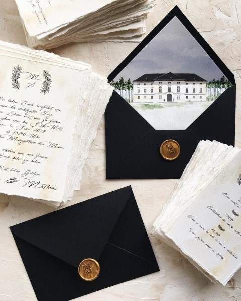 Calligraphy Romantic Wedding Invitation With Custom Envelope Liner